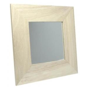 Miroir carr avec cadre bois 22 x 22 cm maison pratic boutique pour vos loisirs creatifs et - Miroir cadre bois ...