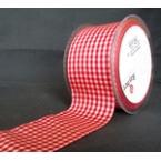 ruban carreau rouge et blanc au mètre