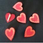 lot 6 mini pinces coeurs rouge