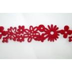 ruban feutrine fleurs rouge 25mm