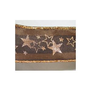 Ruban étoile marron et Or 25mm