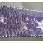 Ruban étoile violet et or 25mm