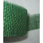 Ruban toile de jute amidonné vert foncé 55mm