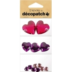 Cabochon Decopatch coeur Rose et Prune