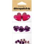 Cabochon Decopatch coeur Rose et Prune