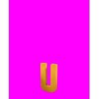Lettre 3D U en carton 4cm