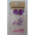 Cabochon Decopatch  coeur Violet Rose Pétale