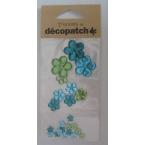 Cabochons Decopatch Fleurs turquoise Jade