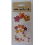 Cabochons Decopatch  Fleurs Ambre et Rubis