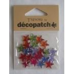 Cabochons Decopatch mini etoiles multicolores