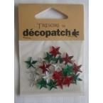 Cabochons Decopatch mini etoiles vert rouge