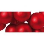 12 Mini Baies de Noel en verre rouge mat