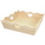 Wood Tray with Hearts