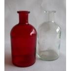2 Bouteilles deco en verre rouge et Blanc