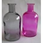 2 Bouteilles deco en verre rose et gris