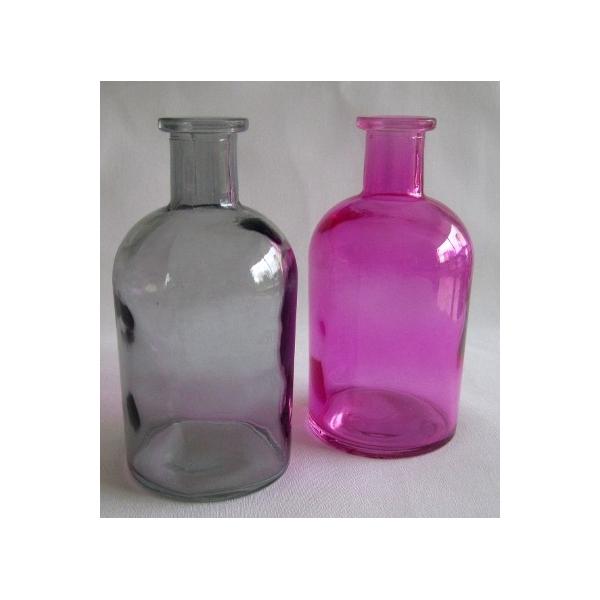 2 bouteilles deco en verre rose et gris maison pratic for Deco gris et rose