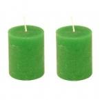Lot de 2 bougies vert gazon