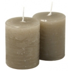 Lot de 2 bougies brun taupe