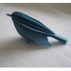 Oiseau en bois carte 3D bleu