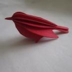 Oiseau en bois carte 3D rouge