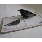 Oiseau en bois carte 3D Noir