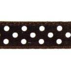 Ruban satin à pois Brun et Blanc 9.5mm