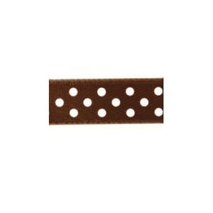 Ruban satin à pois Chocolat et Blanc 9.5mm