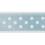 Ruban satin à pois Bleu clair et  Blanc 9.5mm