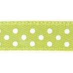 Ruban satin à pois Vert clair et  Blanc 9.5mm