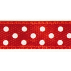 Ruban satin à pois Rouge et Blanc 9.5mm