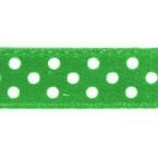 Ruban satin à pois vert  et Blanc 9.5mm