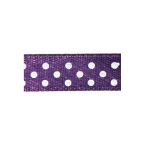 Ruban satin à pois Violet et Blanc 9.5mm