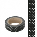 Masking Washi Tape Noir points argent