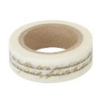 Masking Washi Tape blanc ecriture or