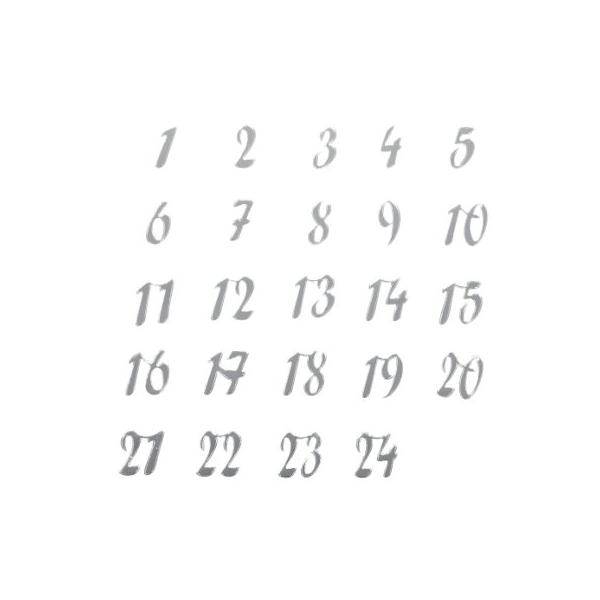 24 chiffres calendrier avent miroir argent maison pratic boutique pour vos loisirs creatifs - Chiffres pour calendrier de l avent a imprimer ...