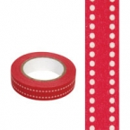 Masking Washi Tape double point rouge fond blanc