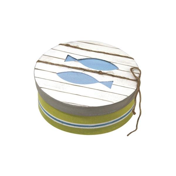 boite ronde motif poisson maison pratic boutique pour vos loisirs creatifs et votre deco. Black Bedroom Furniture Sets. Home Design Ideas