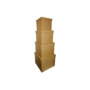 Set de 4 grandes bo tes carr es en carton maison pratic boutique pour vos loisirs creatifs - Decorer une boite en carton ...