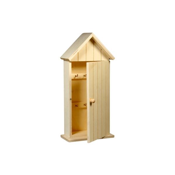 Boite cl s en bois 6 crochets maison pratic boutique - Boite a cles bois ...