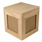 boite bois cube avec photo