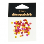 Cabochons Decopatch mini coeur orange rouge