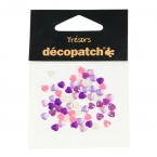 Cabochons Decopatch mini coeur orange rose violet