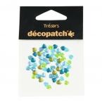Cabochons Decopatch mini coeur bleu vert kaki