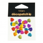 Cabochons Decopatch 24 coeurs multicolores